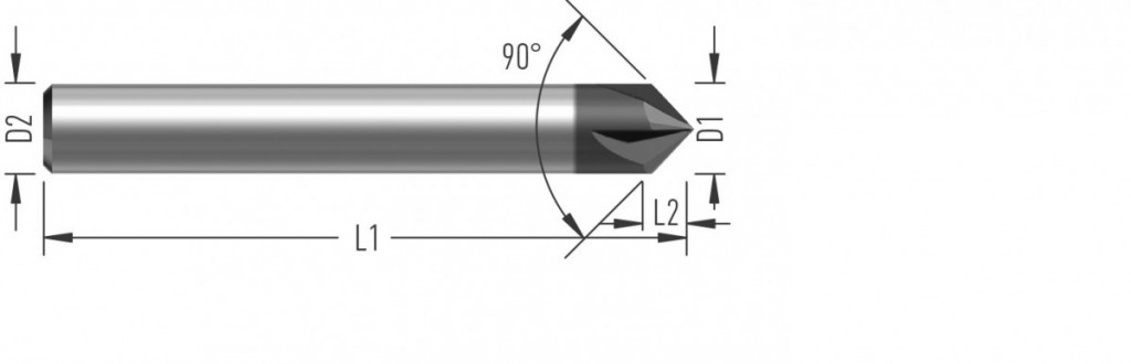 Fréza na srážení hran (F5090) s úhlem špičky 90° čtyřbřitá