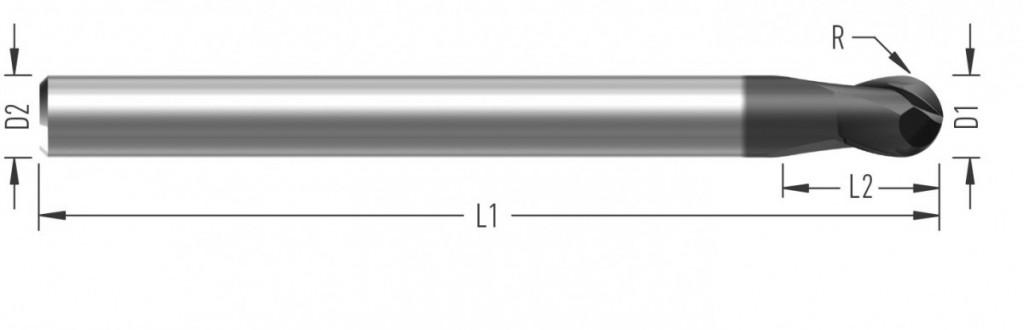 RoughBall XL (F8210) kulová fréza, hrubovací, odlehčená, prodloužená