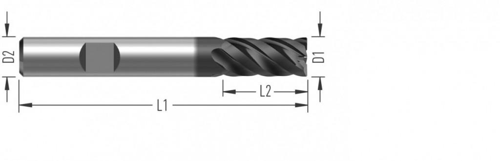 ExtraCut 40 (F8300) rohová fréza, čtyřzubá, s vnitřním chlazením
