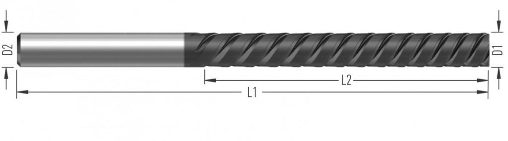 SuperSlim (F8480) speciální dokončovací fréza, třízubá, s levou šroubovicí