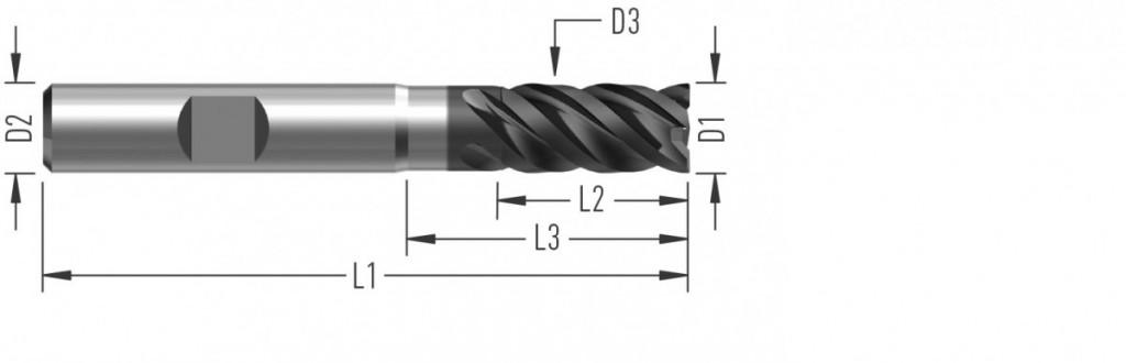 UniCut XL (F8627) univerzální rohová fréza, čtyřzubá, odlehčená, prodloužená