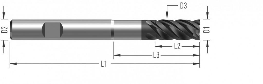 UniCut XL (F8628) univerzální rohová fréza, čtyřzubá, odlehčená, prodloužená