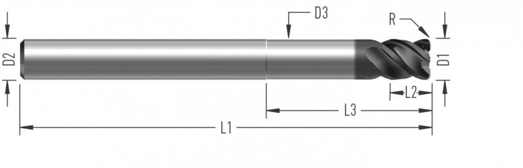 UniCut RXL (F8640) univerzální rohová fréza, čtyřzubá, s rohovým radiusem, odlehčená, semistandard - na přání