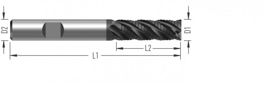 UniCut RCL (F8710) univerzální rohová fréza, čtyřzubá, s děliči třísek, dlouhá