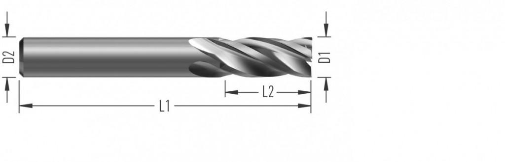 Aero 4Z (F8900) leštěná rohová fréza, čtyřzubá