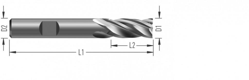 Aero 4Z Plunge10 (F8920) leštěná rohová fréza, čtyřzubá, s vnitřním chlazením