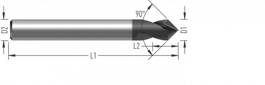 NC Navrtávák 90° (V3090) s úhlem špičky 90°, dvoubřitý