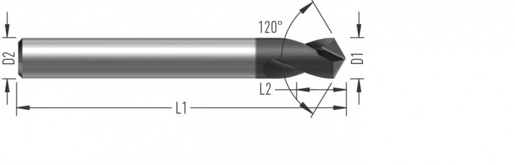 NC Navrtávák 120° (V3120) s úhlem špičky 120°, dvoubřitý,